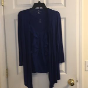 Royal blue ruffle tank and 3/4 sleeve top combo